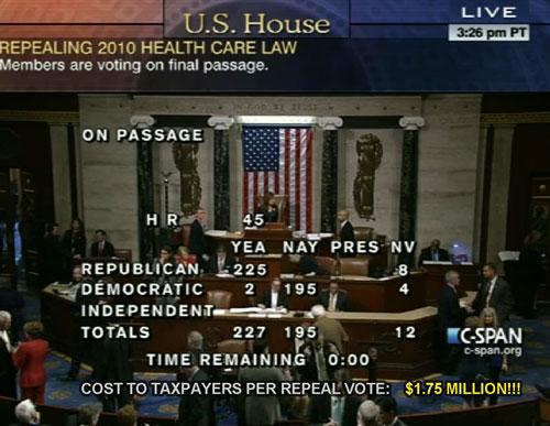 Cost per Obamacare repeal vote