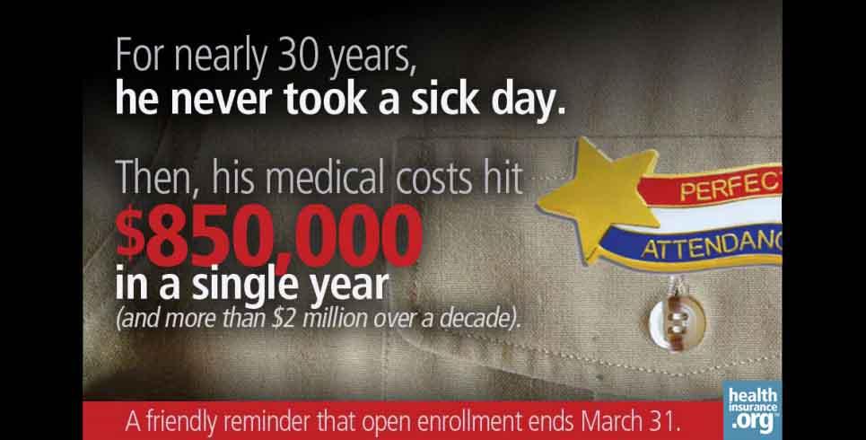 'I don't need health insurance!' photo