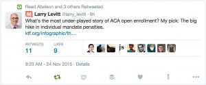 @larry_levitt What's the most under-played story of ACA open enrollment? My pick: The big hike in individual mandate penalties