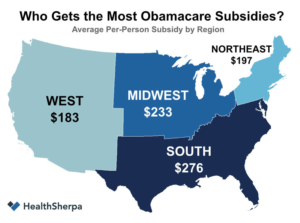 Obamacare subsidies by region