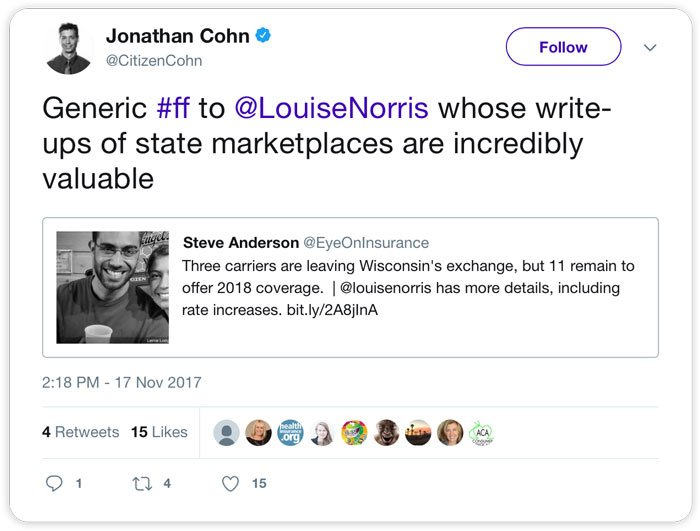 Jonathan Cohn: Generic #ff to @LouiseNorris whose write-ups of state marketplaces are incredibly valuable