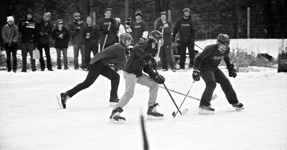 Oxbow Winter Classic pond hockey.