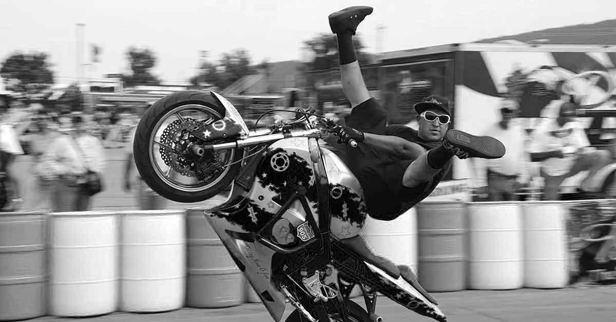 Stugis motorcycle stunt.