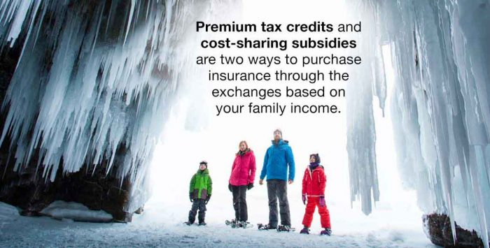 We're a family of four with an income of $47,000 a year. What kinds of subsidies are available to help us purchase insurance through the exchanges?