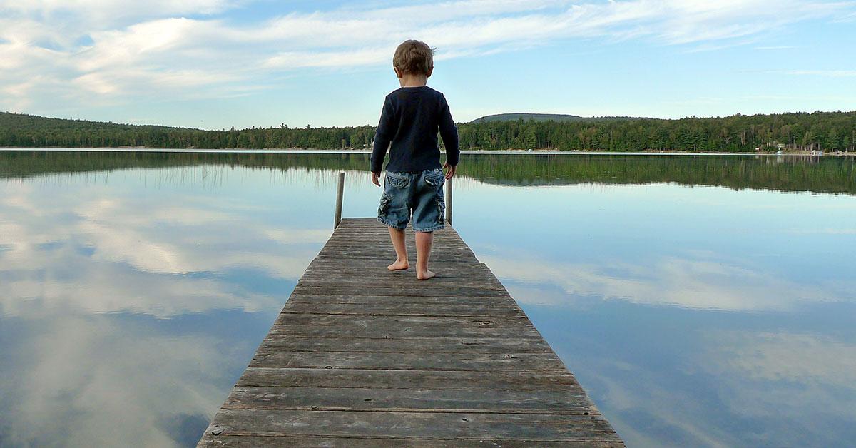 Boy on dock, Devereaux, Maine.