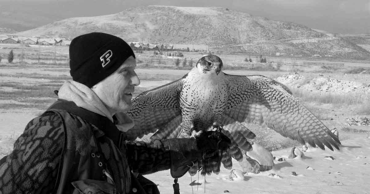 Hawk man with hawk, Nevada.