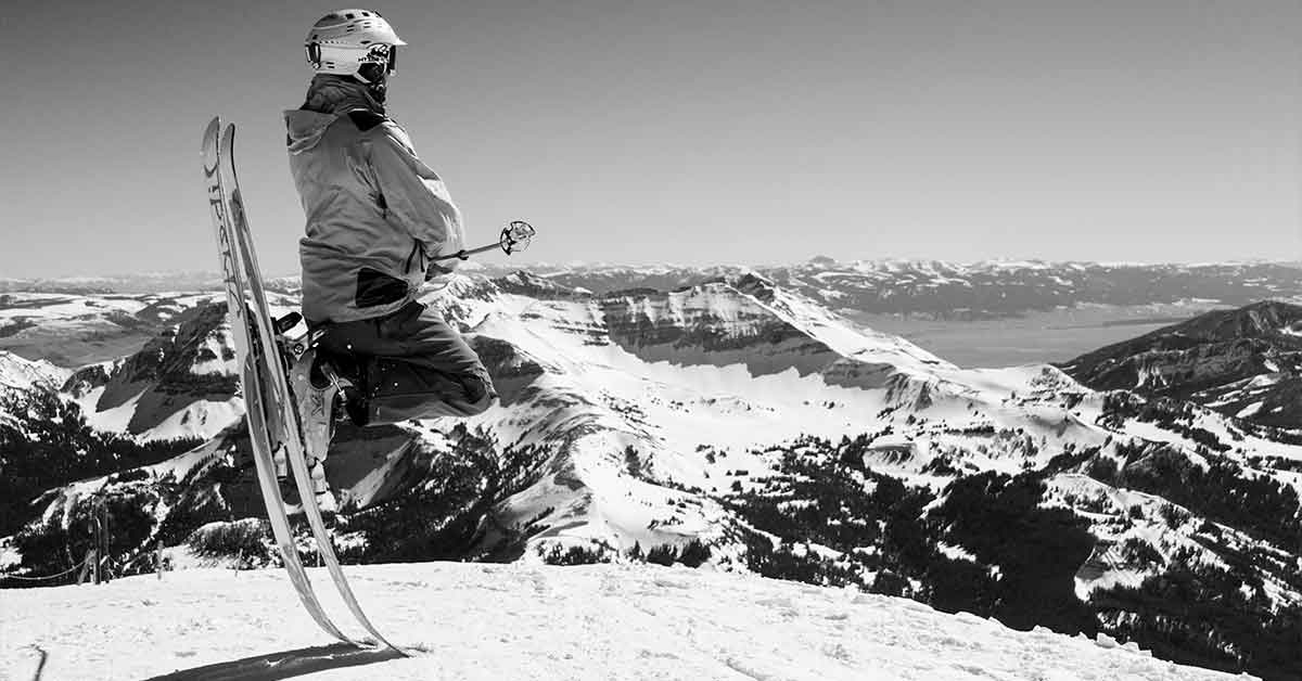 Perched on skis in Big Sky.